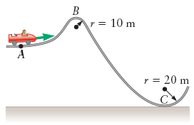 The roller coaster in the figure below starts with