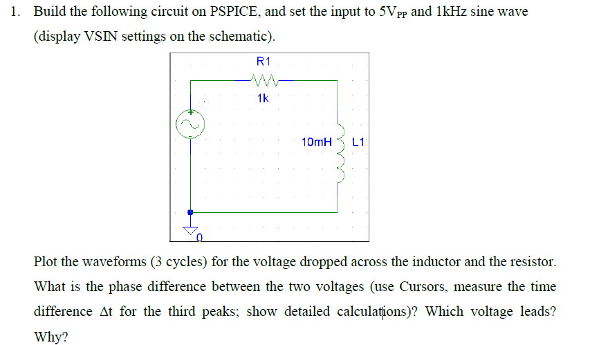 Build the following circuit oil PSPICE, and set th