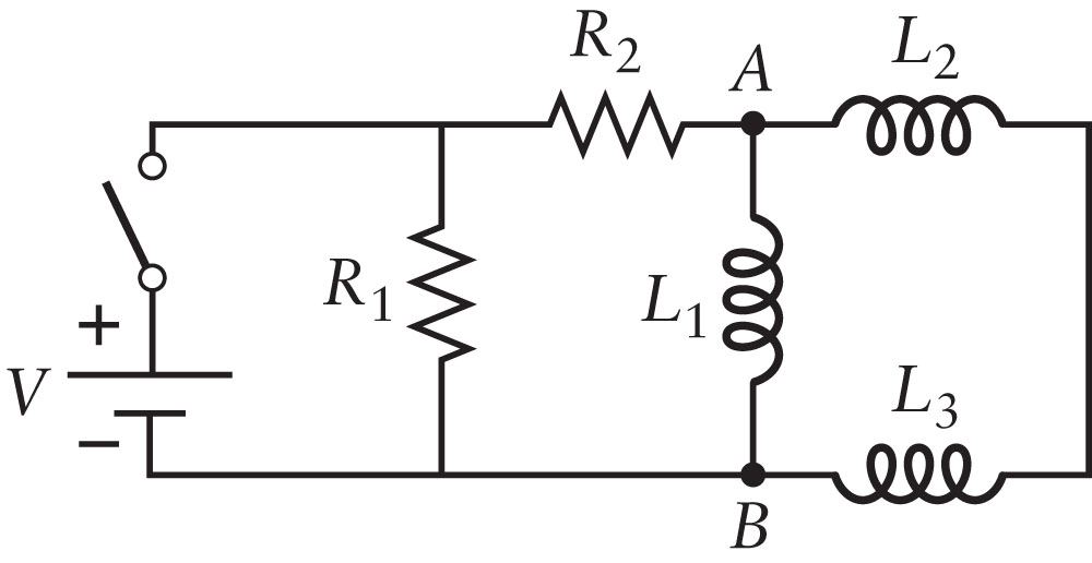 The switch in the circuit shown in the figure has
