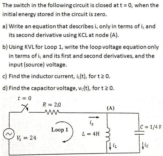 The switch in the following circuit is closed at t