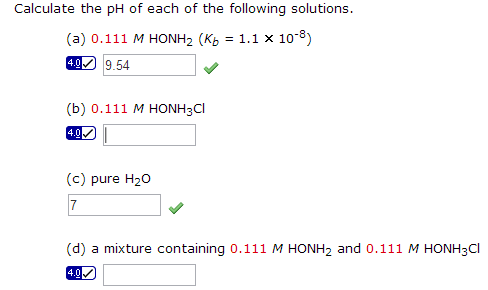 Calculate the pH of each of the following solution
