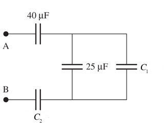 Assume that C1= 10uF and C2= 23uF. Find the equiva