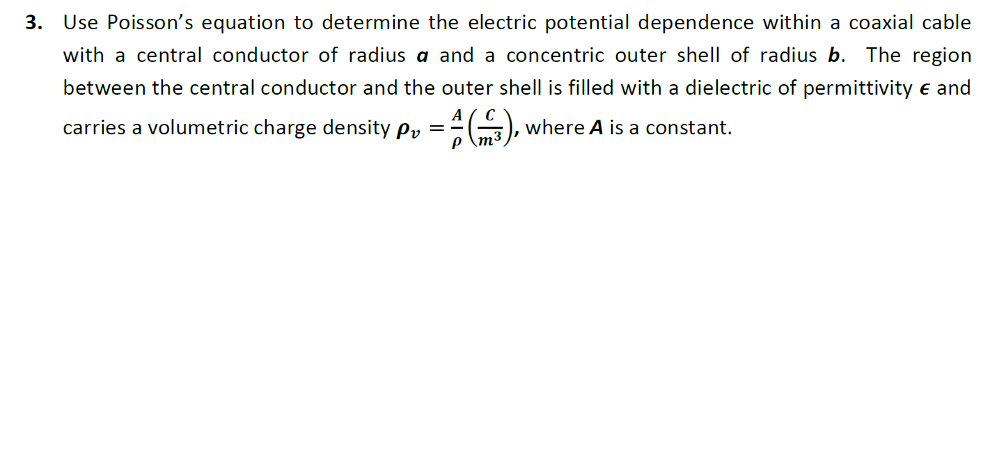 Use Poisson's equation to determine the electric p