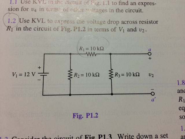 Use KVL in the circuit of fig 1.1 to find an expre
