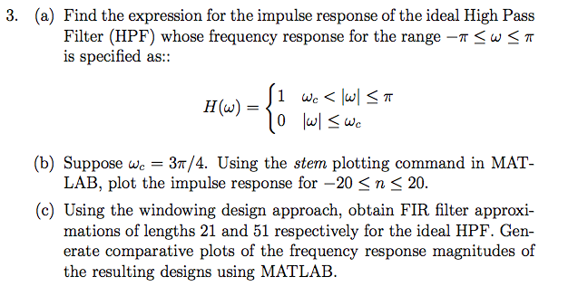 Find the expression for the impulse response of th