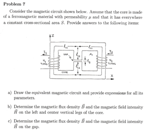Solved: Consider The Magnetic Circuit Shown Below  Assume