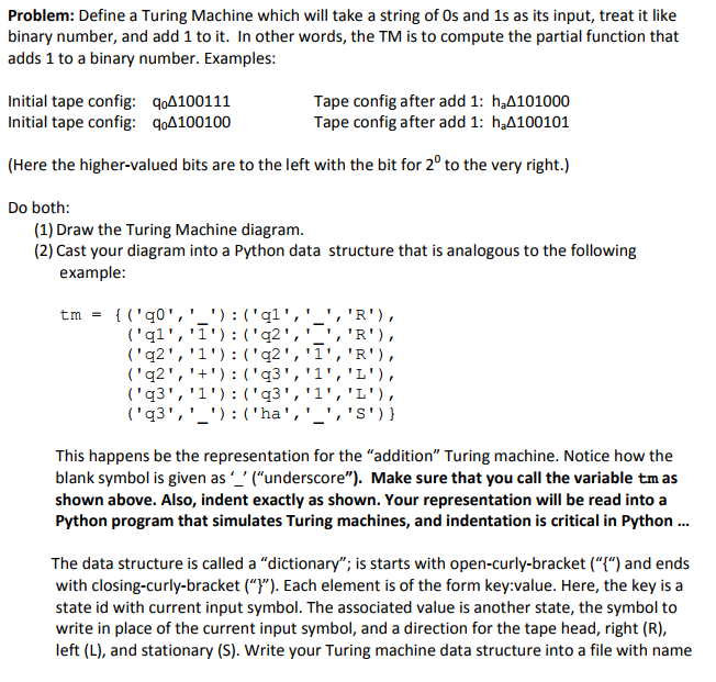 Solved Problem Define A Turing Machine Which Will Take A