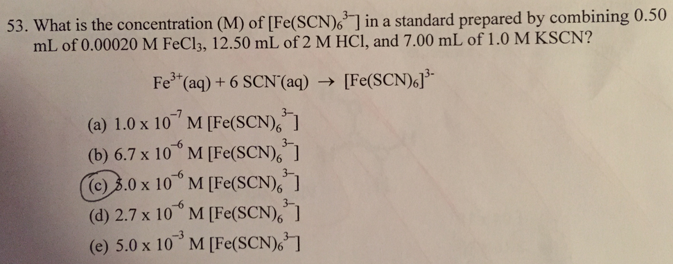 Solved What Is The Concentration M Of Fescn63 In
