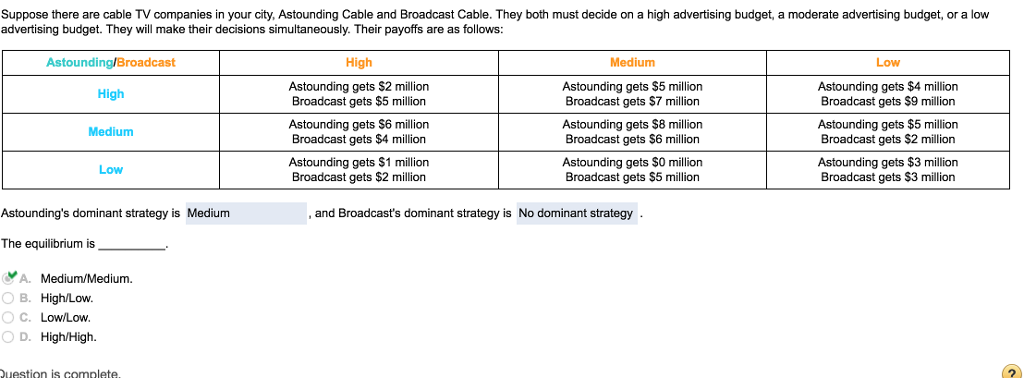 Solved Suppose There Are Cable Tv Companies In Your City