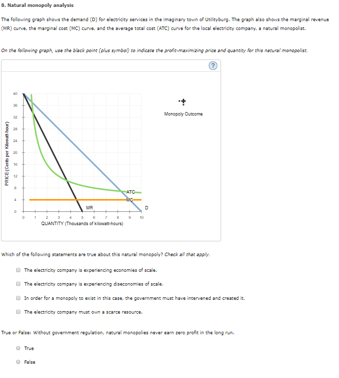 Solved 8 natural monopoly analysis the following graph s natural monopoly analysis the following graph shows the demand d for electricity ccuart Images