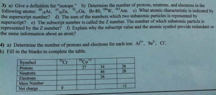 Solved Give A Definition For Isotope Determine The Num