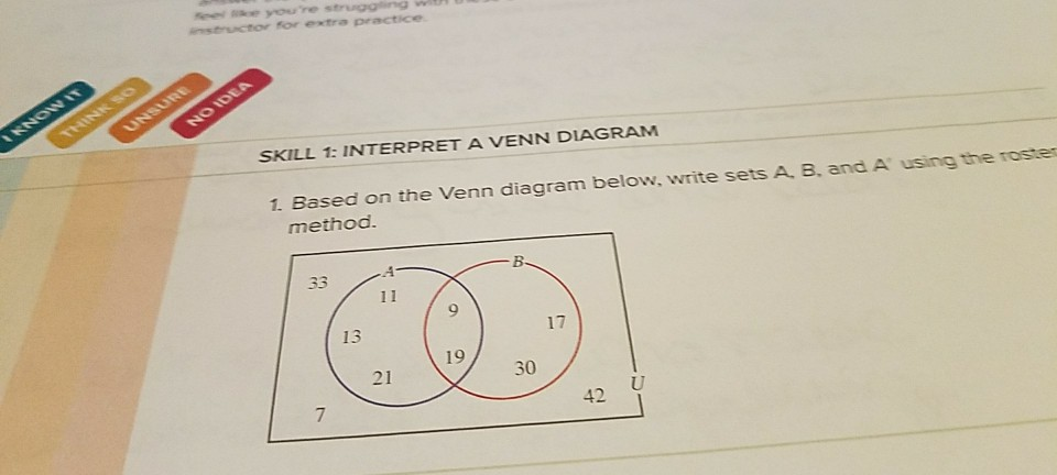 Solved Skill 1 Interpret A Venn Diagram 1 Based On The