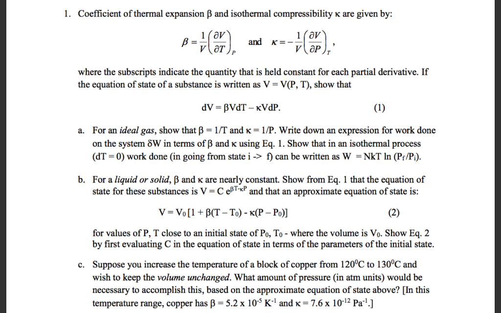 solved  i  coefficient of thermal expansion  u03b2 and isotherm