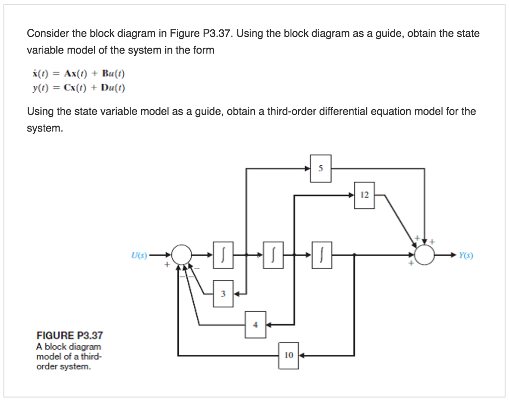 Consider the block diagram in Figure P3.37. Using the block diagram as a