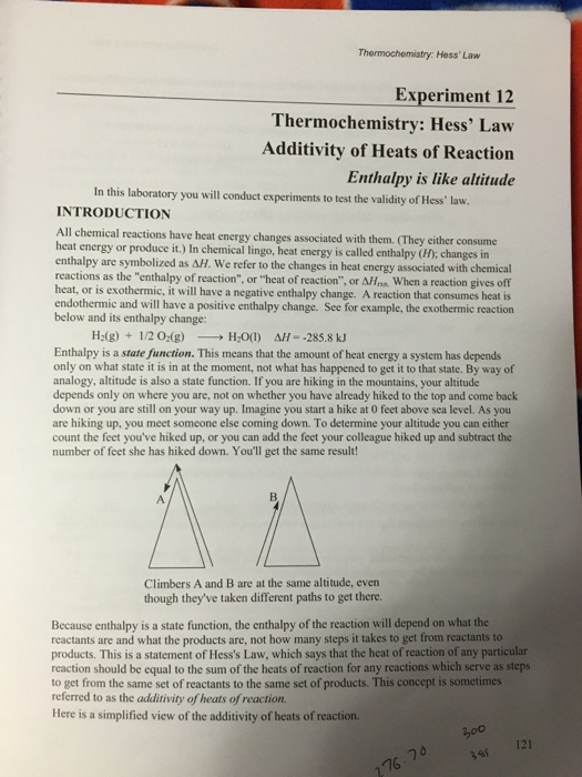 hess law experiment
