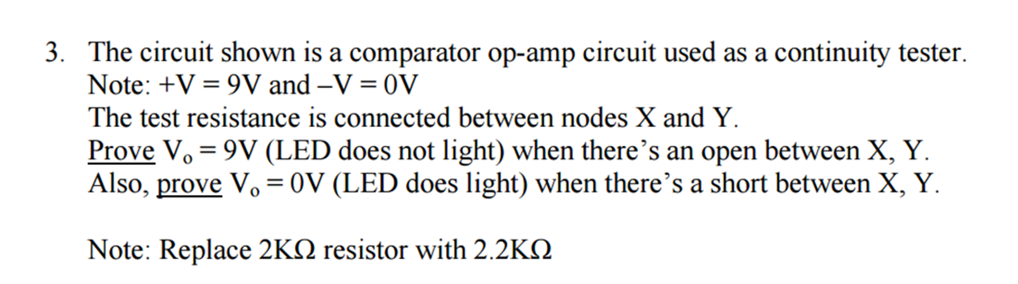 Solved The Circuit Shown Is A Comparator Op Amp U Led Tester