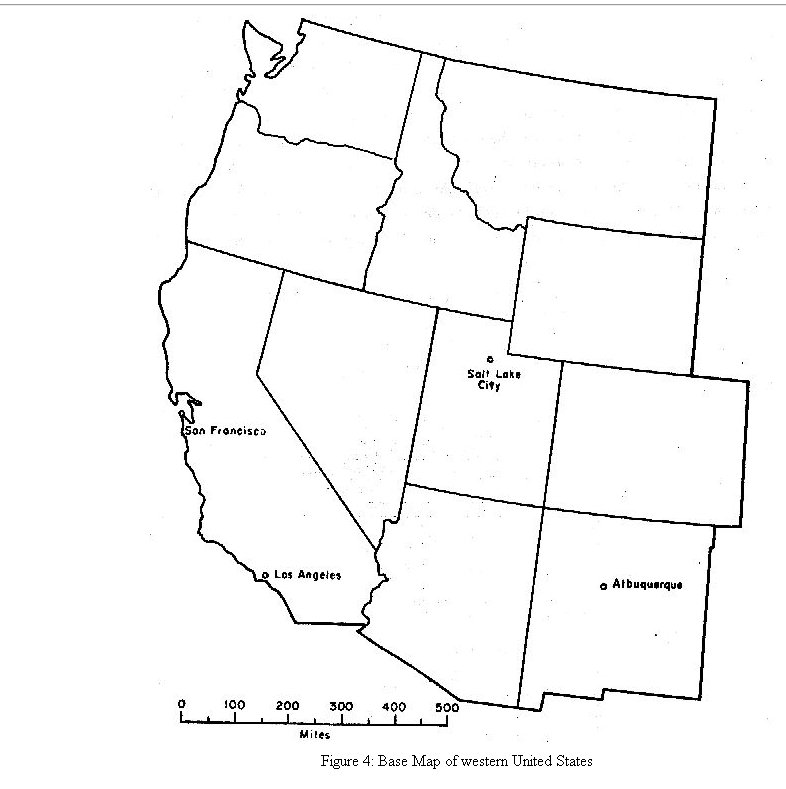 Solved 4 On The Base Map Of The Western United States F - Map-western-us