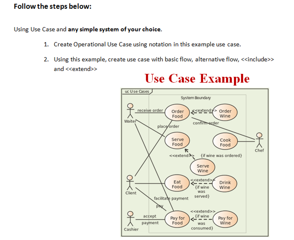 Solved i need help with making a use case diagram please follow the steps below using use case and any simple system of your choice ccuart Images