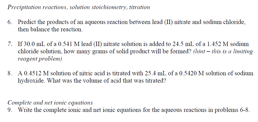stoichiometry of precipitation reaction A precipitation reaction is a type of chemical reaction in which two soluble salts in aqueous solution combine and one of the products is an insoluble salt called a precipitate the precipitate may stay in the solution as a suspension, fall out of solution on its own, or can be separated from the.
