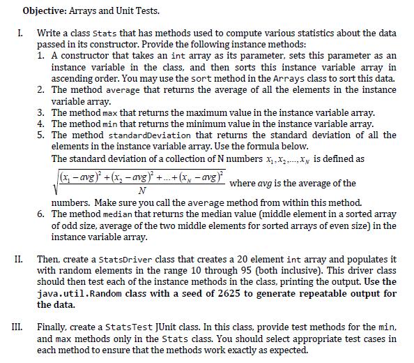 Objective: Arrays And Unit Tests  I  Write A Class