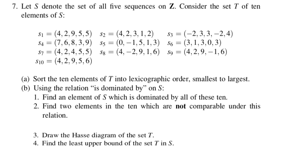 Solved let s denote the set of all five sequences on z c 7 let s denote the set of all five sequences on z consider the ccuart Choice Image