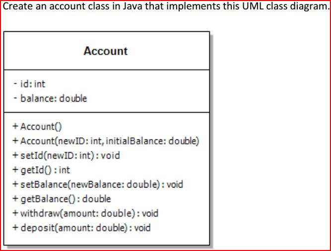 Solved Create An Account Class In Java That Implements Th