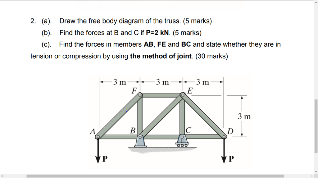 Solved 2 A B C Draw The Free Body Diagram Of Th