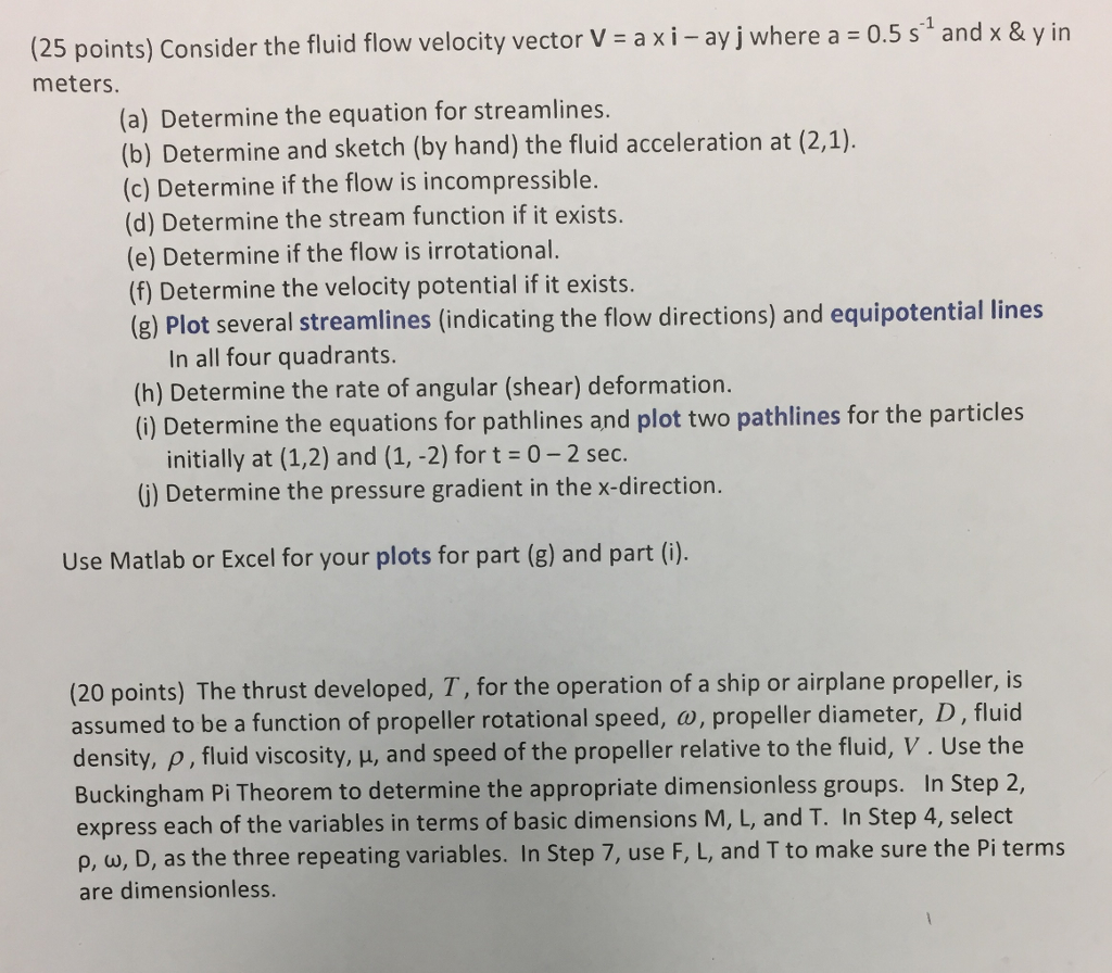 Solved: (25 Points) Consider The Fluid Flow Velocity Vecto