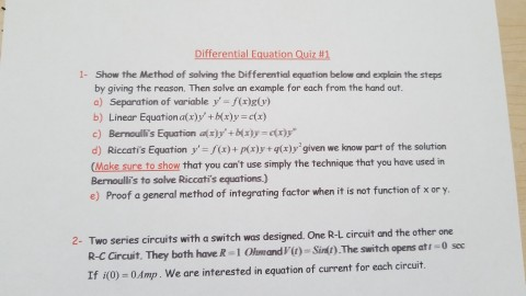 Solved: 1- Show The Method Of Solving The Differential Equ