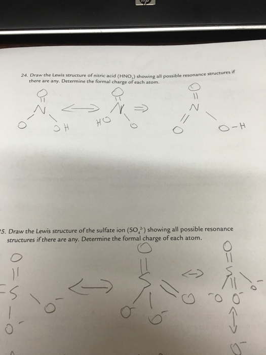 Solved: Draw The Lewis Structure Of Nitric Acid (HNO_3) Sh ...