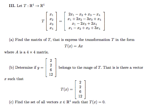 how to find the range of a matrix transformation