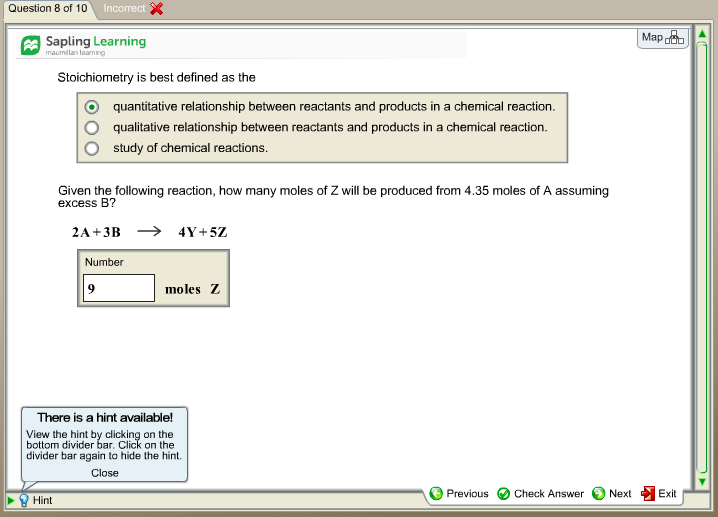 Solved: Question 8 Of 10 Sapling Learning Stoichiometry Is