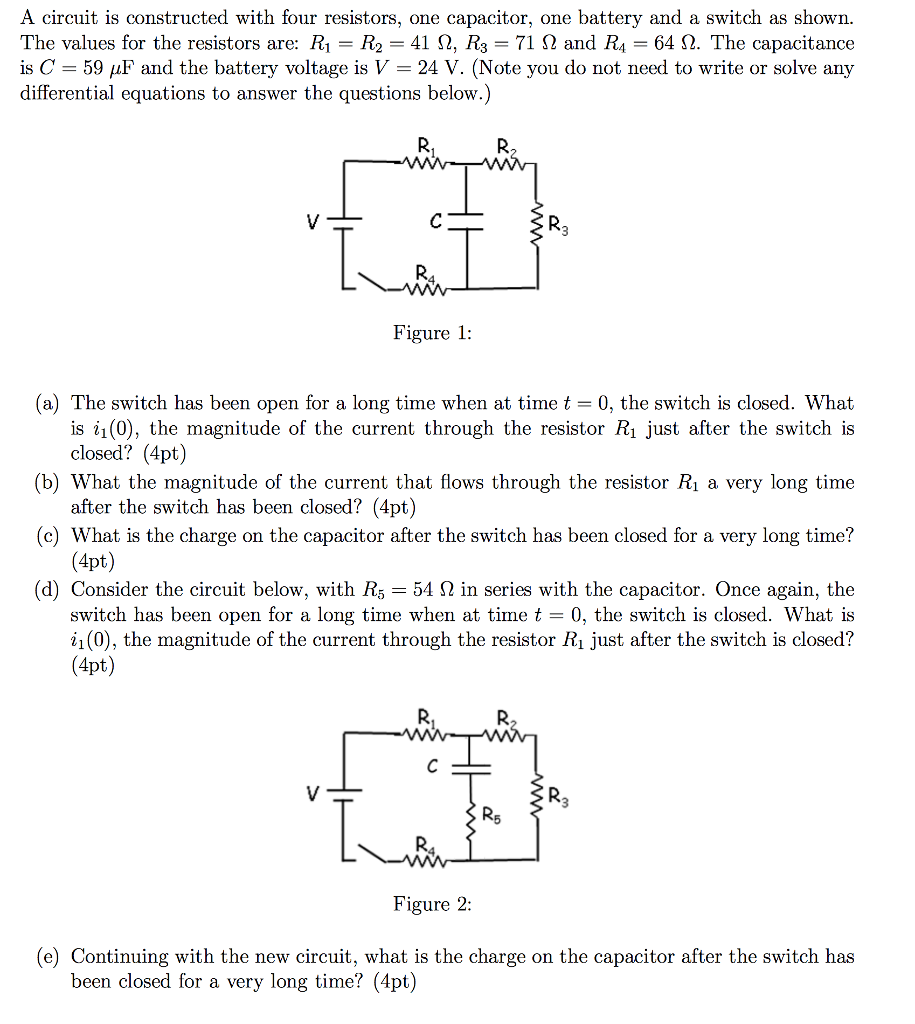 Solved: A Circuit Is Constructed With Four Resistors, One ...