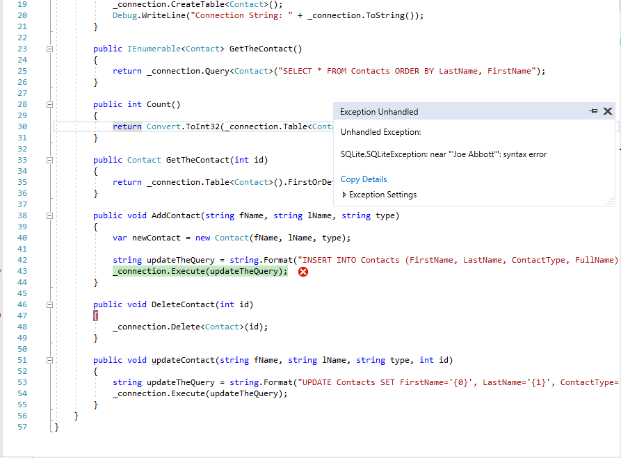 Solved: I Am Building An Application On C# Using SQLite, I