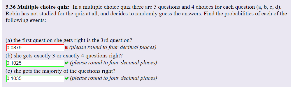 solved in a multiple choice quiz there are 5 questions an