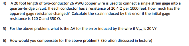 Solved 4 a 20 foot length of two conductor 26 awg copper 4 a 20 foot length of two conductor 26 awg copper wire is used greentooth Image collections