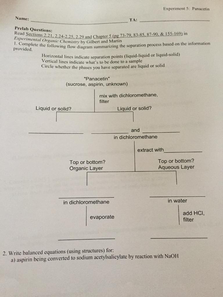 Experiment 5 Panacetin Name TA Prelab Questions