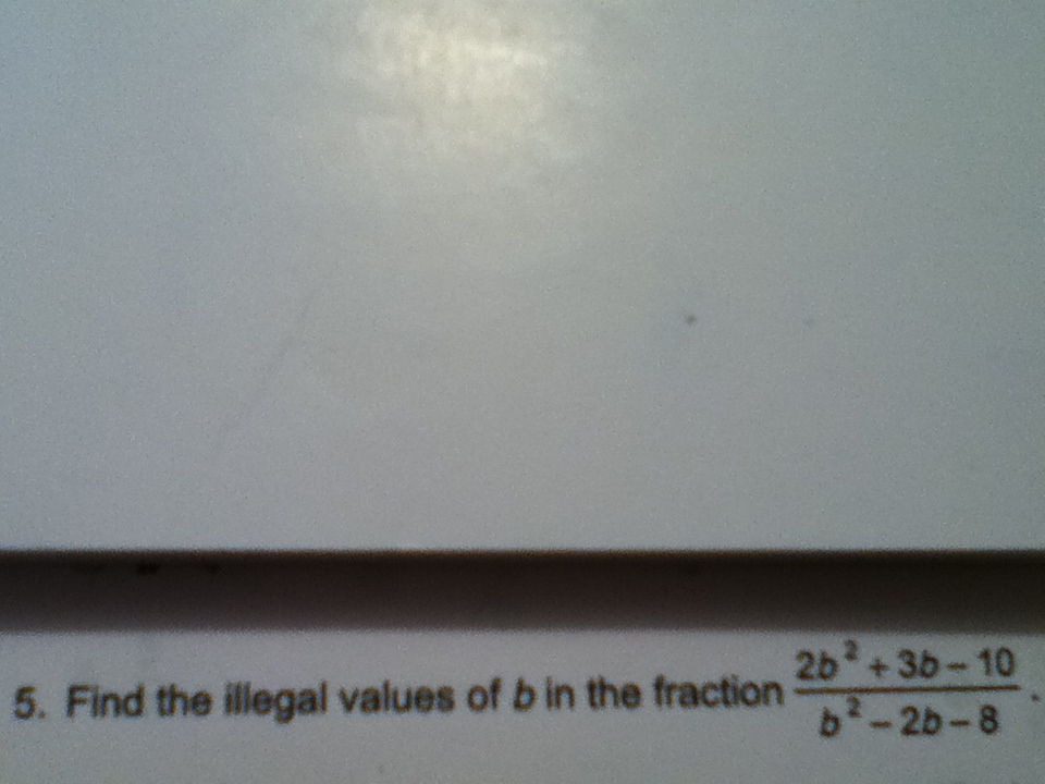 Find the illegal values of b in the fraction 2b2 +