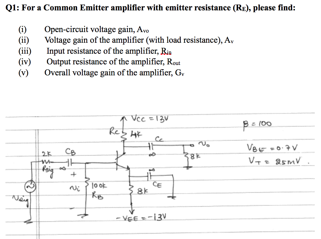 Open Circuit Voltage Resistance Modern Design Of Wiring Diagram Find The Voc Short Cheggcom Solved For A Common Emitter Amplifier With Resist Rh Chegg Com Limiter