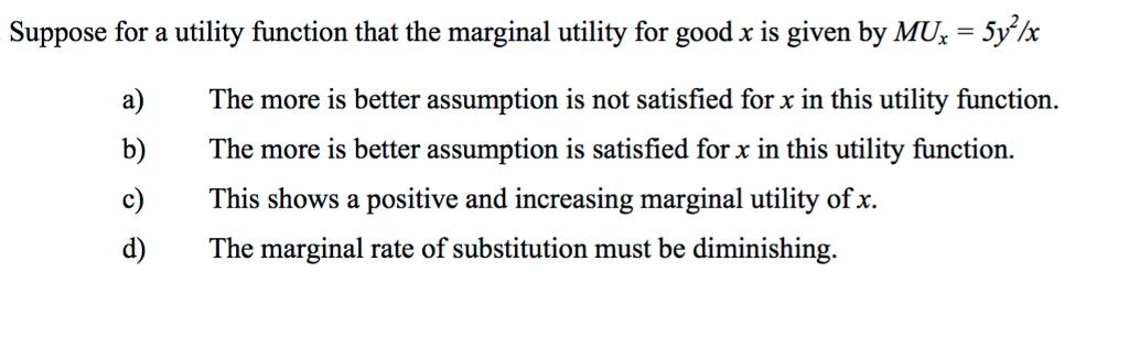 marginal utility of x