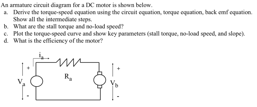 Solved: An Armature Circuit Diagram For A DC Motor Is Show ... on