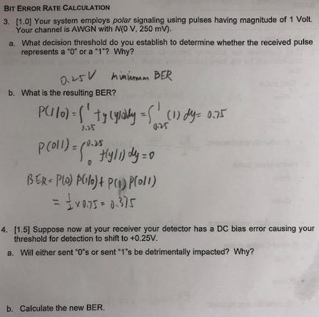 BIT ERROR RATE CALCULATION 3  [1 0] Your System Em