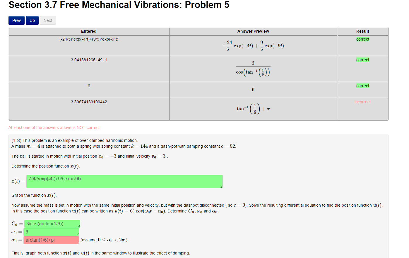 Solved: Free Mechanical Vibrations: Problem 5 This Problem