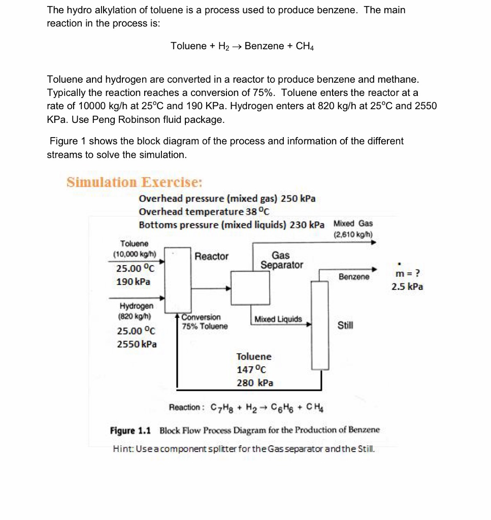 Make An Aspen Hysys Process Simmulation Explain De Flow Diagram Reactor The Hydro Alkylation Of Toluene Is A Used To Produce Benzene Main Reaction
