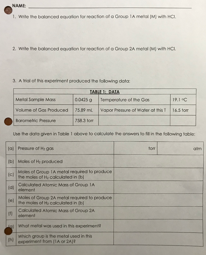 Write the balanced equation for reaction of