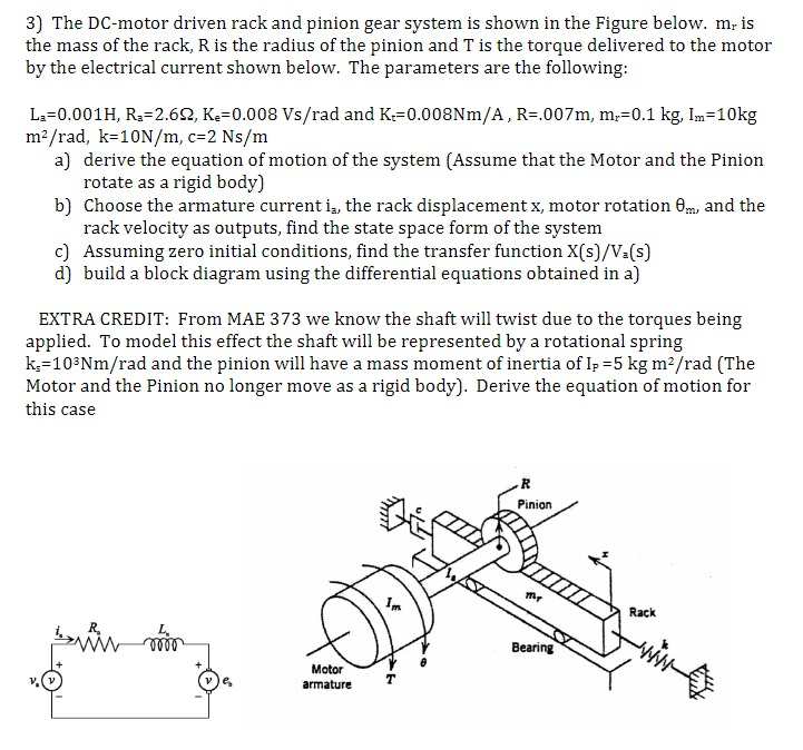 Solved: 3) The DC-motor Driven Rack And Pinion Gear System