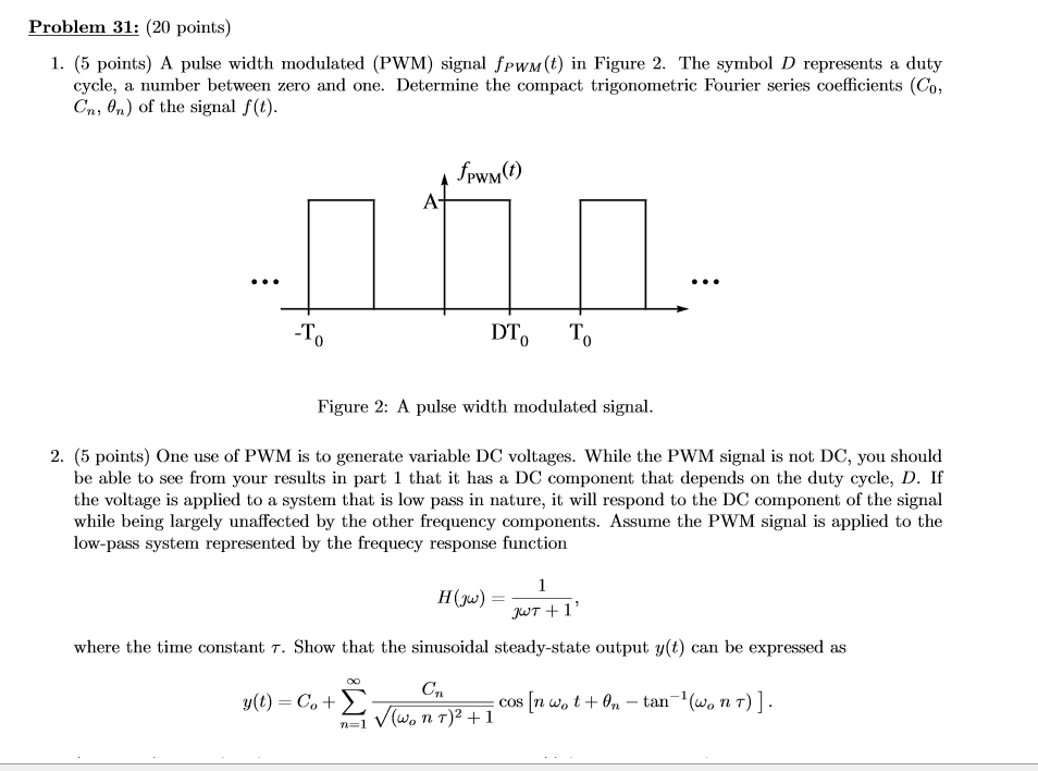 Solved: A Pulse Width Modulated (PWM) Signal F_PWM (t) In