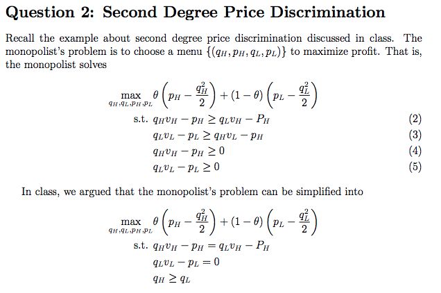 second degree price discrimination