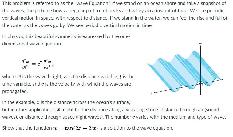 Question This Problem Is Referred To As The Wave Equation If We Stand On An Ocean Shore And Take A Snap