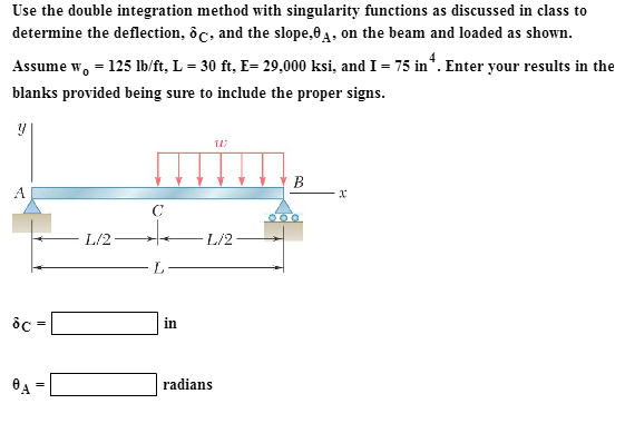 Solved: Use The Double Integration Method With Singularity